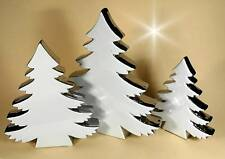 Weihnachtsbaum Tannenbaum weiß silber Keramik edel Tischdeko Advent 18 cm