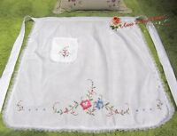Vintage Style Cross Stich Embroidered Half Waist Apron~White~Blue&Red Rose~