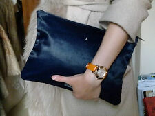 Meli Melo Italian leather midnight blue pony hair double sided zip Clutch Bag