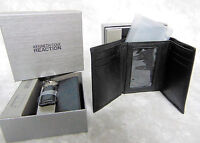 NEW Mens Kenneth Cole Reaction Black LEATHER TRI FOLD WALLET & KEYCHAIN KEYRING