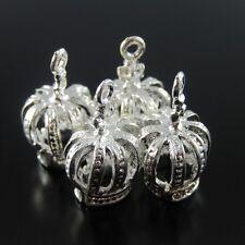 35179 Silver Tone Vintage Alloy Jewelry Royal Crown Lace Pendant Charm 18PCS