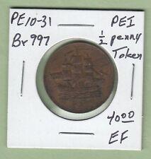 Prince Edward Island SHIPS COLONIES & COMMERCE 1/2 Penny Token  PEI10-31 - EF