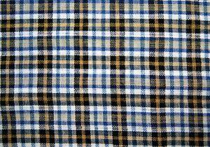 "1/2 Yard Blue White Tan  Plaid Cotton Linen Fabric 19"" X 42"""