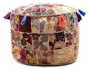 Vintage Pouf Ottoman Moroccan Embroidered Patchwork Footstool Tuffet Bean Bag