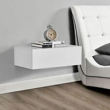 [en.casa]® Nachttisch Weiß Tisch Nachtschrank Nachtkonsole Wandboard Regal