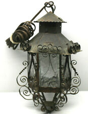 "Crafty Vintage 1970s Mexico Twisted Tin+Glass 12"" Hanging Light Lamp+Long Cord"
