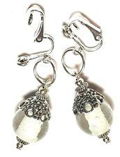 Drop Dangle Silver Luminous Clip On Earrings Glass Bead Tibetan Filigree Style
