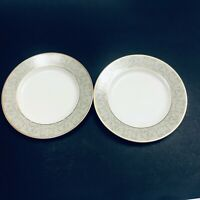 2 Mikasa Fine China Regent Street L3424 Round Salad Plates Ivory Gold Trim 8.25