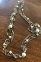Vintage Emmons Graduated Gold Tone 3 Strand Faux Pearl Station Necklace