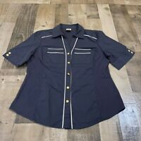 Anne Klein Adult Womens Size Large Collared Button Up Short Sleeve Navy Blue Top
