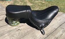 Harley Davidson Wide Black 2 Piece Motorcycle Seat Studded VGC