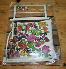 Vogart Bucilla 2352 Fantasia Flowers Floral Crewel Creative Stitchery Pillow Kit