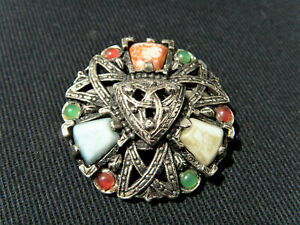 Vintage Style Scottish Celtic Brooch Pin with Glass Agate Stones