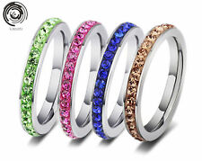 women Titanium Stainless Steel Ring size 7-11 Wedding Crystal silver fashion