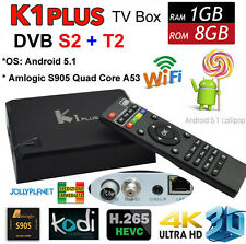 K1 Plus Android 7.1 Quad Core 2GHz Smart TV Box IPTV DVB-S2 DVB-T2 dual tuner