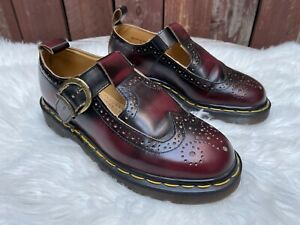 Vintage 90s Y2K Dr. Martens Made in England Arcadia Wingtip T Strap Mary Janes