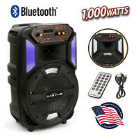 """8"""" Portable Bluetooth Party PA Speaker FM Subwoofer Stereo LED Tailgate Outdoor"""