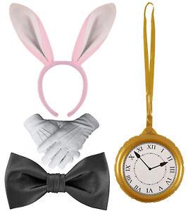 WHITE RABBIT COSTUME Hare Fancy Dress Alice Wonderland Book Week Accessories UK