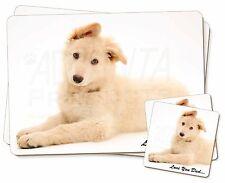 White German Shepherd 'Love You Dad' Twin 2x Placemats+2x Coasters Set, DAD-44PC