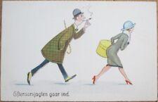 Risque 1920 Art Deco Postcard: Cigar Smoking Man, Woman w/Hatbox - Color Litho