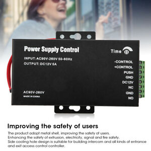 AC 90-260V to DC 12V 5A Power Supply for Door Entry Access Control Lock System