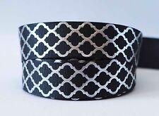 1M X 22mm Grosgrain Ribbon Craft DIY Cake Decoration Bows - Foil Silver Black