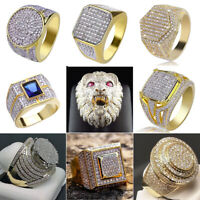 Hip Hop 18K Yellow Gold Plated White Sapphire Ring Women Men's Wedding Jewelry