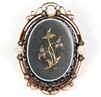 Antique Victorian 14K Rose Gold Brooch w/ Diamonds & Pearls