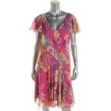 American Living 5774 Womens Pink Chiffon Floral Print Casual Dress 12 BHFO