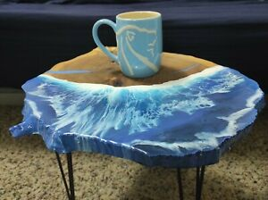 "Very unique epoxy coffee table ""The beach""! Live edge. Handmade art."