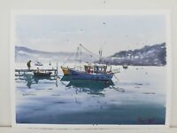 Fishermen in small boat Original Watercolour Painting Fishing boats Harbour 654