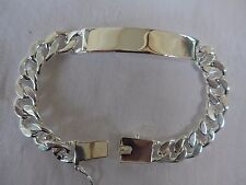 Chunky Solid Curb Mens Unisex Identity Bracelet Sterling Silver Plated 925