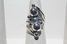 Sterling Festive Embossed Silver Beads Long Wrap Around Ladies Ring 925 6952