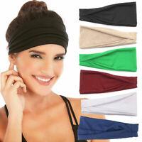 Men Women Wide Headband Sweatband Stretch Sweat Elastic Sport Yoga Run Hairbands