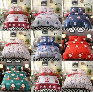 Merry Christmas Santa Print Quilt Duvet Cover Set Single/Queen/King Size Bedding