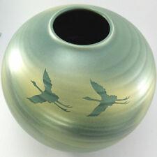 A3 Antique Vintage Japanese Air Brush Art Vase Flying Cranes Artist Signed