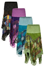 New Velvet Long Pixie Skirt with Patchwork Lace Bohemian Clothes up to Plus Size