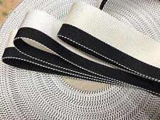 """Vintage Petersham Reversible Rayon 1"""" Ribbon Cream White Black 1yd Made in USA"""