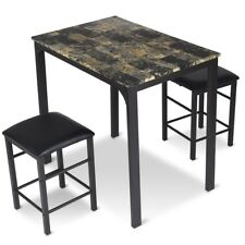 3PCS/SET Home Dining Room Counter Height Faux Marble Coffee Tea Table Desk Set