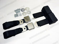 CHROME LATCH 2 POINT RETRACTABLE BLACK SEAT BELTS CLASSIC MUSCLECAR LOWRIDER KIT