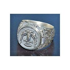 Sterling silver men ring handmade, double headed eagle, steel pen crafts