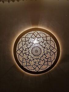 Moroccan round wall light disc oriental Handmade wall lamp Brass night light Fez