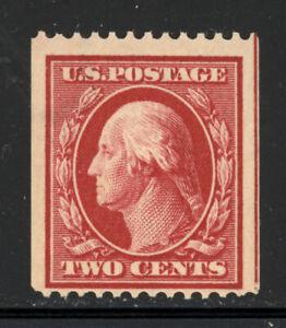 SCOTT #386 1910 2 CENT WASHINGTON REGULAR ISSUE COIL SINGLE MNH OG F CAT $100!