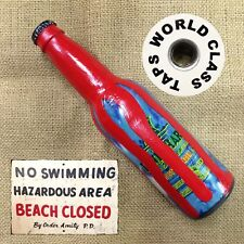 LANDSHARK Blood Ocean beer tap handle real bottle + JAWS SIGN MAGNET beach pool