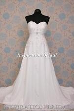 1579 White Ivory wedding dress 2105 strapless A-line corset back chiffon plus UK
