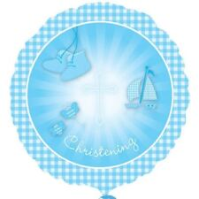 Christening Booties Blue Foil Balloon Religion Baby Party Decorations