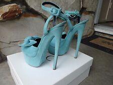 Giuseppe Zanotti Denny115 Skyhigh Ankle Strap Platform Sandal Turquoise Size 40
