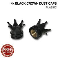 4x Black Crown Car Bike Motorcycle BMX Wheel Tyre Valve Plastic Dust Caps