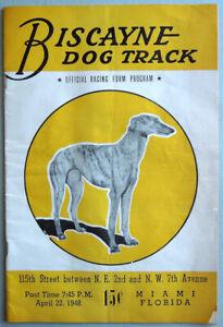 Vintage 1948 Biscayne DOG TRACK Program Greyhound Racing Miami Florida