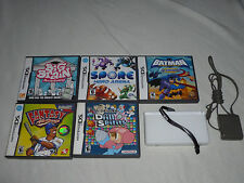 WHITE NINTENDO DS LITE SYSTEM & GAME LOT SPORE BATMAN MR DRILLER BIG BRAIN 2K8 >